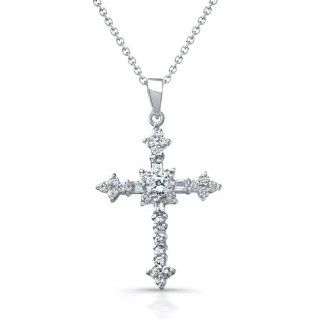 CleverEve Designer Series 2013 Fall Winter Sterling Silver Rhodium Plated & Dazzling CZ Cross Pendant Necklace Jewelry