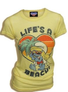 Smurfs Smurfette Life's a Beach Triblend Yellow Juniors T shirt Tee: Clothing