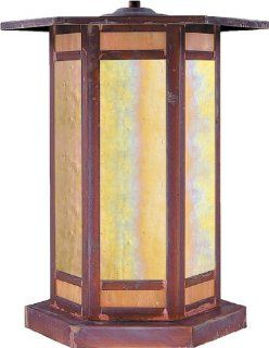 Arroyo Craftsman ETC 14 RC Etoile Collection 1 Light Column Mount, Raw Copper Finish with Gold White Iridescent Glass   Outdoor Post Lights