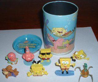 Spongebob Figure / Figurine Set with Patrick Gary Sandy Etc in a Collectible Spongebob Tin