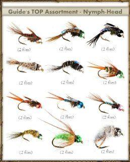 Fly Fishing Flies   NYMPH HEAD Assortment (24 flies)  Dry Fishing Flies  Sports & Outdoors