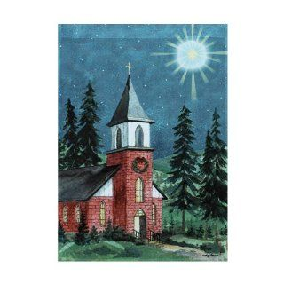 "Peaceful Country Church at Christmas Flag   Small 12.5"" X 18"" For Winter Porch House Patio Garden Yard School Office Vet Hotel Church School Holiday Store Outdoor Banner Decorations, Etc. : Patio, Lawn & Garden"