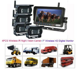 """Rupse 7"""" QUAD HD Monitor Wireless IR Night Vision Rear View Back up Camera System for RV Truck Trailer Bus or Fifth Wheel  Vehicle Backup Cameras"""