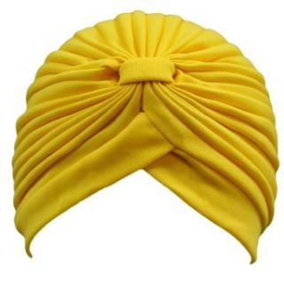 Luxury Divas Yellow Classy Polyester Turban Hat Head Cover Sun Cap at  Women�s Clothing store