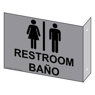 Restroom With Symbol Sign RRB 6991Proj BLKonGray Restrooms  Business And Store Signs