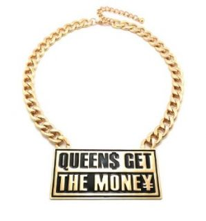 "QUEENS GET THE MONEY Gold Tone Fashion Necklace w/ 12mm 18"" Link Chain ON1016GDBLK Clothing"