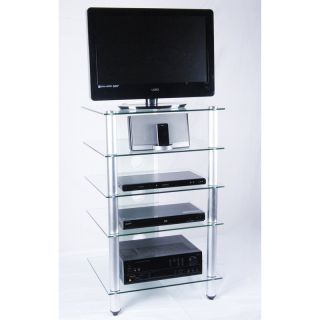 RTA Home and Office T1D 137TV NEW Tier One Designs Clear Glass TV Stand/Audio Rack   TV Stands