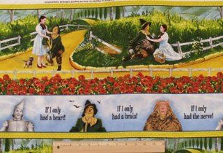 "The Wizard of Oz ""IF I ONLY HAD A BRAIN!"" Sewing Quilting Craft JUDY GARLAND as DOROTHY and THE SCARECROW Fabric (2 Yards)"