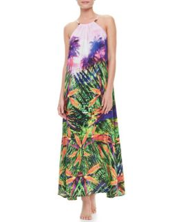 Womens Rio Halter Maxi Coverup Dress, Oasis Print   Seafolly   Oasis (LARGE)