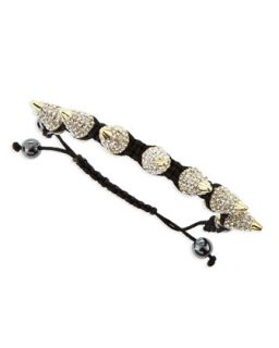 Large Pave Crystal Spike Bracelet, Black/Golden   Jules Smith   Gold (ONE SIZE)