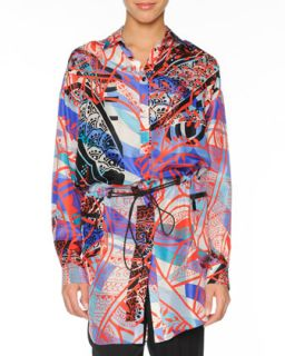 Womens Printed Silk Topper with Drawstring   Emilio Pucci   Blue/Red (44/10)
