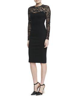 Womens Lace Long Sleeve Dress, Black   Carolina Herrera   Black (8)