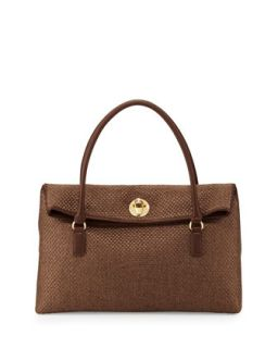 Borsa Tessuto Woven Foldover Bag, Brown   Love Moschino