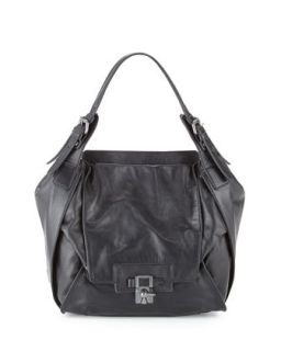 Valerie Leather Latch Shoulder Bag, Black   Kooba