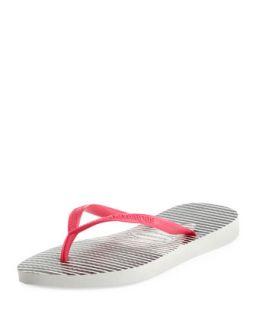 Slim Striped Flip Flop, White/Pink   Havaianas   White (39/40)