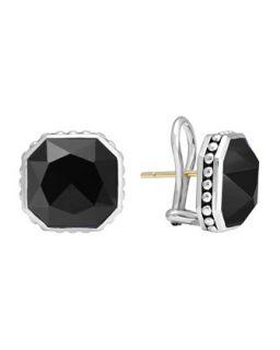 14mm Sterling Silver Onyx Rocks Clip On Earrings   Lagos   Silver (14mm ,4mm )