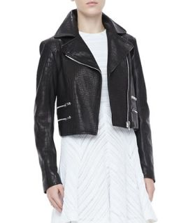 Womens Vespa Crocodile Embossed Moto Jacket   Rag & Bone   Black (6)