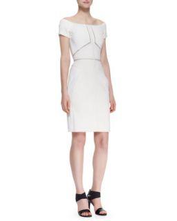 Womens Off Shoulder Dress with Lace Insets, Ecru   J. Mendel   Ecru (8)