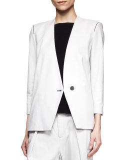 Womens Ark Peak Front Suiting Blazer   Helmut Lang   White ash (8)