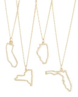 Pave Diamond State Necklace   Maya Brenner Designs   Wisconsin