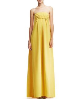 Womens Strapless Silk Gown, Yellow   Derek Lam   Yellow (38)