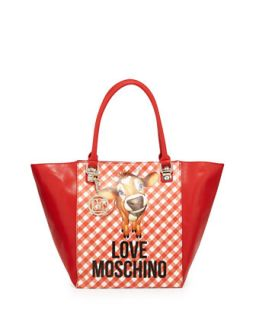 Cow Gingham Print Faux Leather Tote Bag, Red   Love Moschino