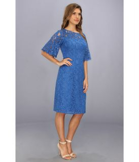 Adrianna Papell Flutter Sleeve Lace Sheath Baltic, Clothing