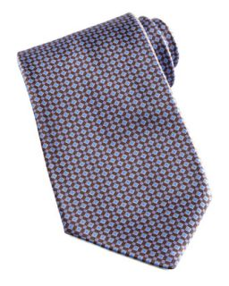 Mens Mini Grid Silk Tie, Brown/Blue   Stefano Ricci   Brown/Blue