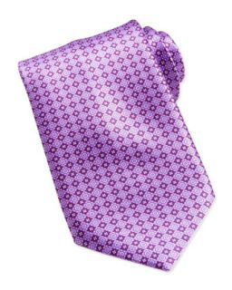 Mens Floral Medallion Pattern Silk Tie, Purple   Stefano Ricci   Purple 1