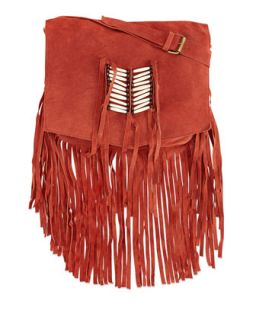 Maria Beaded & Fringed Crossbody Bag, Rust   Raj