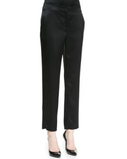 Womens Crepe Marocain Emma Pant with Pockets, Caviar   St. John Collection