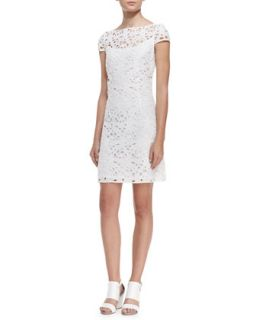 Womens Cap Sleeve Overlay Lace Dress, Optic White   Ali Ro   Optic white (6)