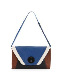 Cordoba Multi Grained Leather Clutch Bag, Aegean Block   Elliott Lucca