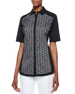 Womens Merrie Short Sleeve Blouse   Lafayette 148 New York   Black (14)