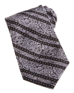 Mens Paisley Print Striped Woven Silk Tie, Gray   Stefano Ricci   Grey 2
