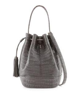 Medium Crocodile Tassel Bucket Bag, Charcoal   Nancy Gonzalez