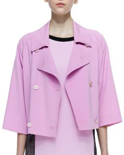 Womens Cropped Double Breasted Boxy Trench Coat, Cosmos Pink   DKNY   Cosmos