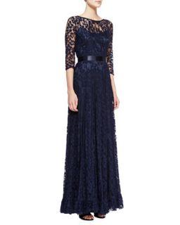 Womens 3/4 Sleeve Lace Overlay Gown, Navy   Rickie Freeman for Teri Jon   Navy