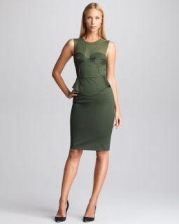 Womens Sateen Peplum Dress, Khaki   Emilio Pucci   Khaki (44/10)