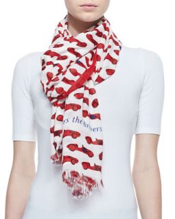 autobahn race car print scarf, red/cream   kate spade new york   Lacquer