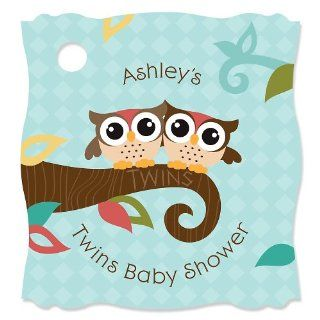 Owl   Look Whooo's Having Twins   Personalized Baby Shower Tags   20 ct: Toys & Games