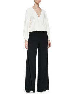 Womens Clover Draped Two Tone Jersey Jumpsuit   Alexis   Black/White (SMALL)