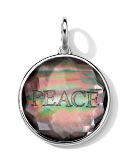 Sterling Silver Carved Intaglio PEACE Charm, Black Shell Doublet   Ippolita
