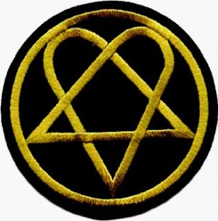 HIM   Round Heartagram Logo   Embroidered Iron On or Sew On Patch: Clothing