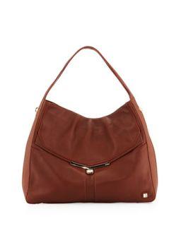 Valentina Pebble Leather Hobo Bag, Brandy   Botkier