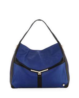 Valentina Colorblock Pebble Leather Hobo Bag, Sapphire   Botkier