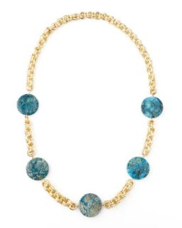 Feldspar Coin Necklace, Blue   Devon Leigh   Blue