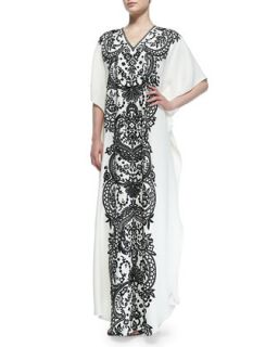 Womens Short Sleeve Embroidered Caftan   Naeem Khan   White/Black (ONE SIZE)