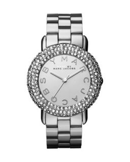 Marci Pave Crystal Stainless Analog Watch   MARC by Marc Jacobs   Silver