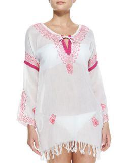 Womens Island Vibe Embroidered Coverup   Letarte   Fuchsia (LARGE)